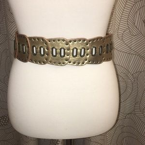 Fossil Gold Leather Belt